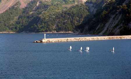optimist: Optimist class yachts racing at Amasra, Balack Sea Stock Photo