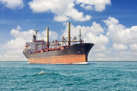 bulk carrier: Dry cargo ship at open sea Editorial