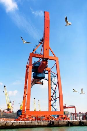 Ship to shore gantry crane in port