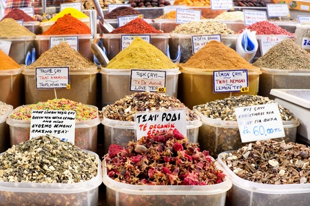 Spices on display on sale at market photo