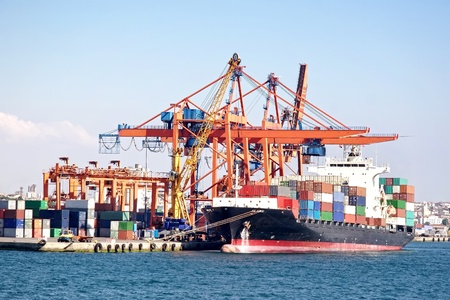 Busy industrial shipping terminal