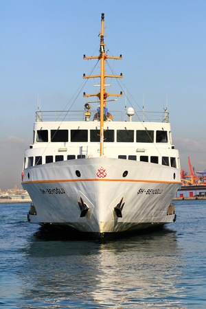 ferryboat: ISTANBUL - OCTOBER 3: SHs BEYOGLU Ferry sails in to Asian side on October 3, 2011 in Istanbul. Nearly 150,000 passengers use ferryboat daily in Istanbul has lands on two different continents