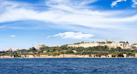 constantinople: Istanbul in panoramic view  Left to right Blue Mosque, Hagia Sophia and Topkapi Palace seen from above