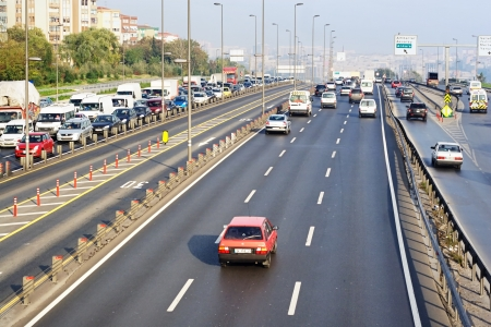 2 november: ISTANBUL - NOVEMBER 2: Trans-European Motorway on November 2, 2009 in Istanbul. Express Metrobus Line planed as a solution to transport problem in city with a daily capacity of 800,000 passengersday.