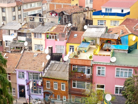density: Aerial view of terraced housing in suburb of Ortakoy near Bosporus in Istanbul, Turkey