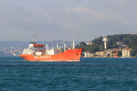 ISTANBUL - JULY 25: LPG tanker MILANGAZ 3 (IMO: 7423885, Turkey) sails along Bosporus on July 25, 2012 in Istanbul. A deadweight of 1,707 tons ship designed for liquefied petroleum gas transportation