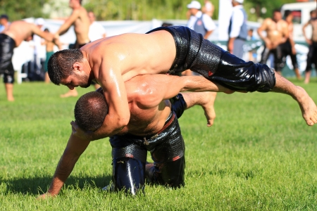 ribcage: ISTANBUL - AUGUST 24: Unidentified wrestlers in the 8th Sile Annual Oil Wrestling Event on August 24, 2012 in Istanbul. Wrestler fighting an opponent