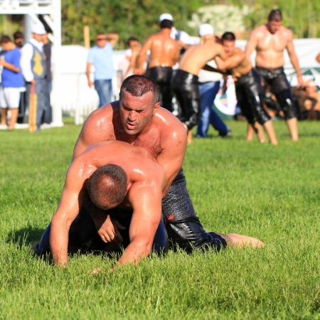 wrestlers: ISTANBUL - AUGUST 24: Unidentified wrestlers in the 8th Sile Annual Oil Wrestling Event on August 24, 2012 in Istanbul. Close up of oil wrestlers (Pehlivan) in a tight grip.