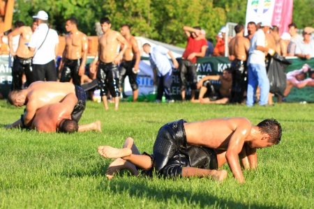 middle east fighting: ISTANBUL - AUGUST 24: Unidentified wrestlers in the 8th Sile Annual Oil Wrestling Event on August 24, 2012 in Istanbul. Oil wrestling also called grease wrestling is a Turkish national sport. Editorial