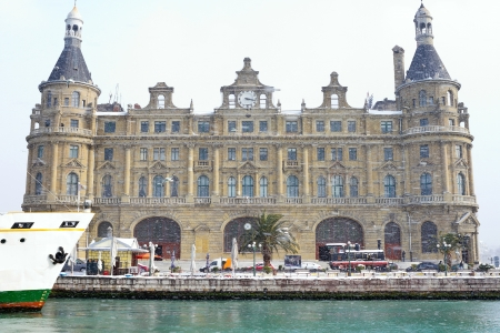 Haydarpasa Train Station in heavy snowfall  Istanbul in Winter