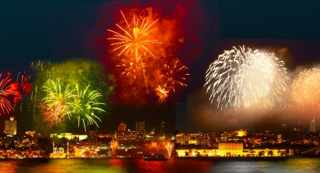 Colorful fireworks all over the Istanbul sky  View of Besiktas, Dolmabahce Palace