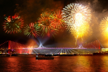 istanbul night: Fireworks over the Istanbul City  View of Bosporus Bridge   Stock Photo