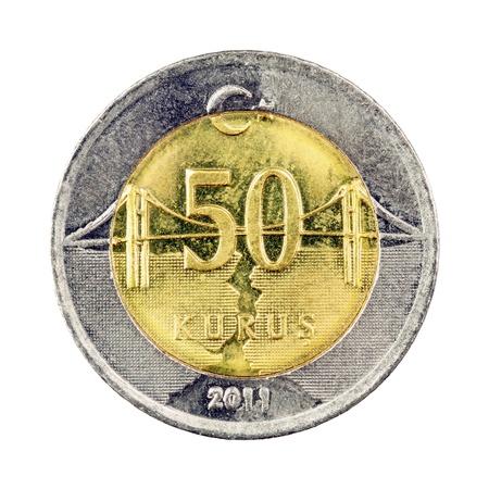 Turkish 50 Kurus coin (Front) Isolated on white background Stock Photo - 16989399
