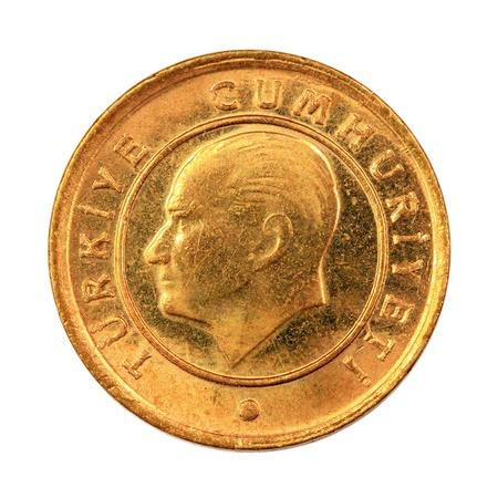 One Turkish Kurus coin (Back) Isolated on white background Stock Photo - 16989397