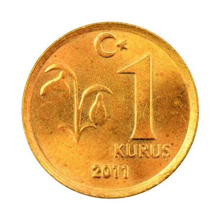 One Turkish Kurus coin (Front) Isolated on white background Stock Photo - 16989395