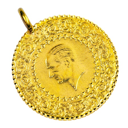 1/4 Turkish Gold coin necklace. (Back) Isolated on white background Stock Photo - 16989382