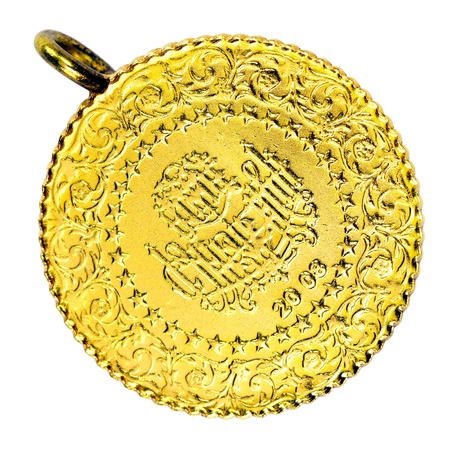 14 Turkish Gold coin necklace. (Front) Isolated on white background  photo
