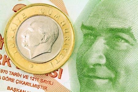 1 Turkish Lira coin on banknote money background Stock Photo - 16979469