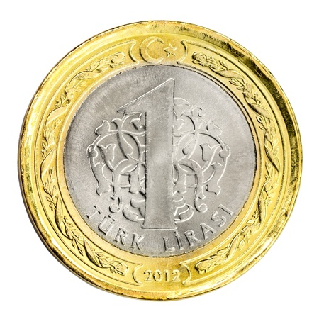 One Turkish Lira coin (front) Isolated on white background  Stock Photo