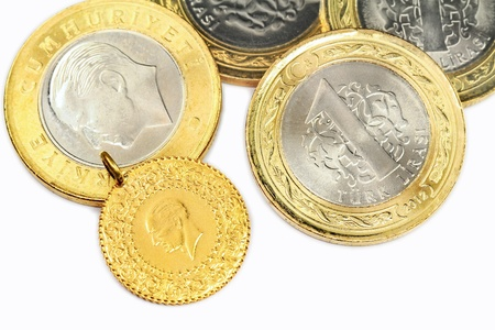 Turkish Gold Coin. 1/4 Cumhuriyet, isolated on white background  Stock Photo - 16989401