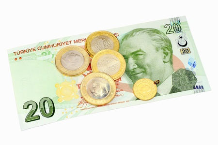 Turkish coins on 20 Lira banknote as background. Isolated on white Stock Photo - 16989398