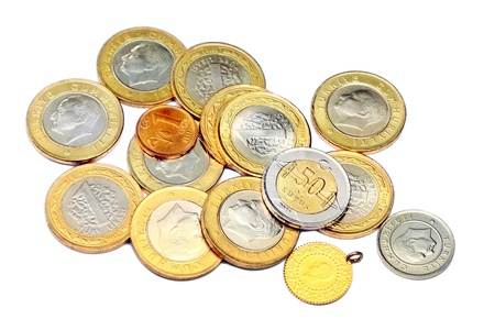 Heap of various coins and a gold. Isolated on white background Stock Photo - 16989375
