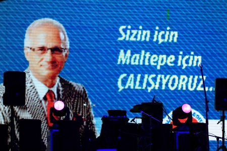 ISTANBUL - JUL 7: Singer Bulent Ersoy performs onstage at the annual Summer Concert events on the Maltepe open-air stage on July 7, 2012 in Istanbul. Maltepe Mayor Mustafa Zengin