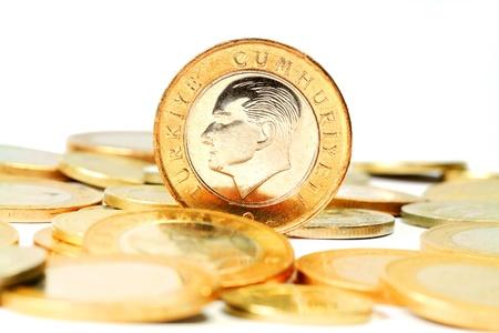 turkish lira: Turkish Lira coin  Isolated on white background Stock Photo