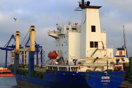 literas: ESTAMBUL - 31 de diciembre: El puerto de Haydarpasa el 31 de diciembre de 2012 en Estambul. Sea Port cuenta con 21 literas al lado de dos grandes pilares y una capacidad de 1.200 buques  año con un área de almacenamiento abierto de 350.000 m2.