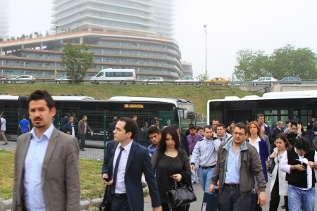 ISTANBUL - MAY 6: Air pollution at downtown on May 6, 2013 in Istanbul, Turkey. Due to increasing population & traffic, Istanbul became one of most polluted city also planned for return of rail system. Commuters