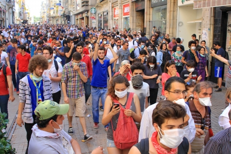 broadened: ISTANBUL - JUN 1: Violence sparked by plans to build on the Gezi Park have broadened into nationwide anti government unrest on June 1, 2013 in Istanbul, Turkey. Istiklal Street