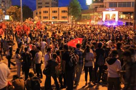 broadened: ISTANBUL - JUN 1: Violence sparked by plans to build on the Gezi Park have broadened into nationwide anti government unrest on June 1, 2013 in Istanbul, Turkey. Taksim Square Editorial