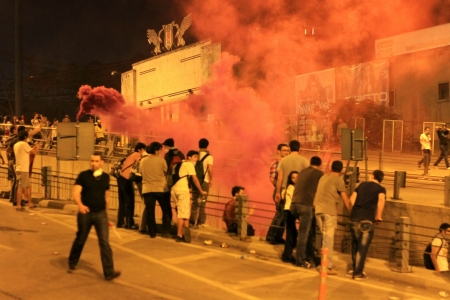 broadened: ISTANBUL - JUN 1: Violence sparked by plans to build on the Gezi Park have broadened into nationwide anti government unrest on June 1, 2013 in Istanbul, Turkey. Besiktas Inonu Stadium Editorial