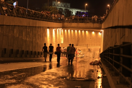 broadened: ISTANBUL - JUN 1: Violence sparked by plans to build on the Gezi Park have broadened into nationwide anti government unrest on June 1, 2013 in Istanbul, Turkey. Car underpass Inonu Stadium