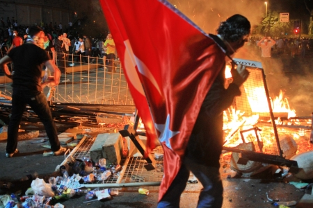 broadened: ISTANBUL - JUN 1: Violence sparked by plans to build on the Gezi Park have broadened into nationwide anti government unrest on June 1, 2013 in Istanbul, Turkey. Dolmabahce road