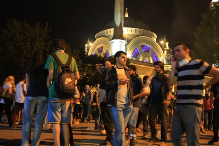 broadened: ISTANBUL - JUN 1: Violence sparked by plans to build on the Gezi Park have broadened into nationwide anti government unrest on June 1, 2013 in Istanbul, Turkey. Dolmabahce Mosque