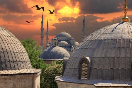 Zonsondergang in Istanbul Blauwe Moskee uit het raam van de Hagia Sophia Stockfoto