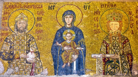 justinian: Virgin Mary holding the Christ Child  Byzantine mosaic art  Interior of Hagia Sophia Museum in Istanbul, Turkey