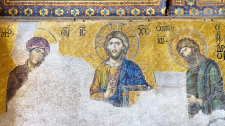 Christ Pantocrator  13th century Deesis Mosaic of Jesus Christ flanked by the Virgin Mary and John the Baptist  Interior of Hagia Sophia Museum in Istanbul, Turkey