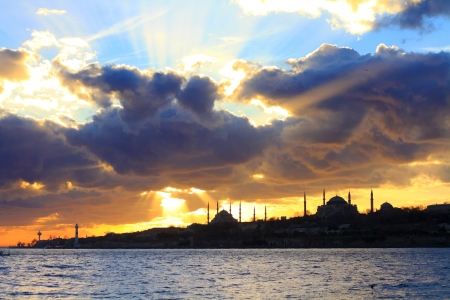 constantinople: Dark spring clouds over Istanbul Stock Photo