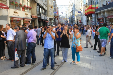 nationwide: ISTANBUL - JUN 17: Five labor unions call 1-day nationwide strike on Monday over crackdown on June 17, 2013 in Istanbul, Turkey. Protesters gather during the demonstration at Istiklal Street