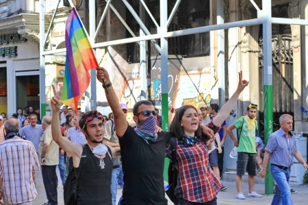 insurrection: ISTANBUL - JUN 17: Labor unions call 1-day nationwide strike over crackdown on June 17, 2013 in Istanbul, Turkey. Demonstrators shout slogans as they gather at Istiklal Street