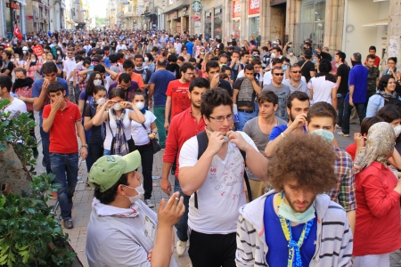 amplified: ISTANBUL - JUN 1: Plans to build on Gezipark led to anti government unrest on June 1, 2013 in Istanbul, Turkey. Tension suddenly amplified on fourth days of peaceful sit when police charged protestors