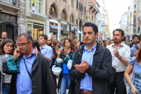 dissident: ISTANBUL - JUN 12: Turkish lawyers march in support of anti-government protests at Istiklal Street on June 12, 2013 in Istanbul. They were detained yesterday by police while protesting in courthouse.
