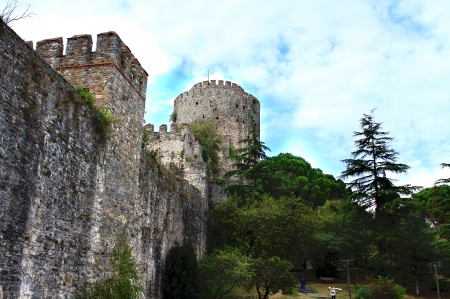 hisari: Rumeli Hisari Fortress  Istanbul, Turkey  Flag Tower Stock Photo