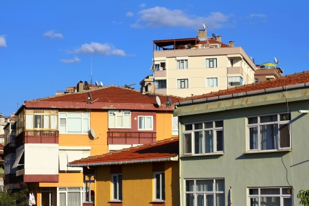 housing styles: Apartment houses  Low income family residential development in an urban area in Istanbul, Turkey