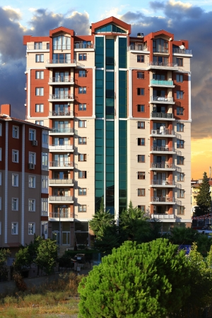 Apartment buildings  Multistoried modern living block of flats Stock Photo - 23585178