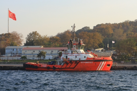 pilotage: ISTANBUL - OCT 30  Coast guard boat KIYI EMNIYETI on October 30, 2013 in Istanbul  An escort board is compulsory in straits for all the tankers over 249,99 meters
