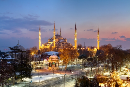 Blue Mosque, Sultanahmet on winter night photo