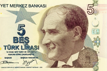 tl: Close up of new 5 TL money  Banknote issued to honor Mustafa Kemal Ataturk who founder Turkish Republic